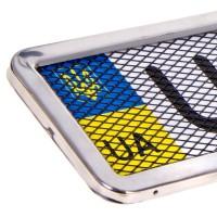 Рамка номерного знака RT-25353, серебряная c сеткой (Milex)