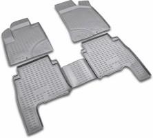 Коврики в салон для Hyundai Santa Fe '01-06 SM полиуретановые, серые (Novline / Element)