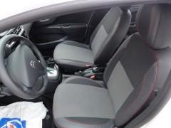 Авточехлы Premium для салона Citroen C-Elysee '13- красная строчка, с деленной спинкой (MW Brothers)