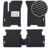 Коврики в салон для Chevrolet Aveo '04-11, EVA, черные с синей тесьмой с мет. подпятником  с 4 мет. шил. (Kinetic)