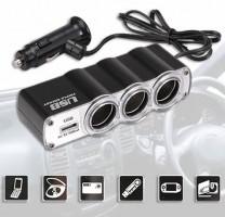 Разветвитель прикуривателя на 3 гнезда +USB WF-0120