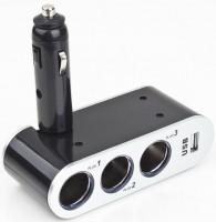 Разветвитель прикуривателя на 3 гнезда +USB WF-0100