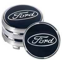 Колпачки на диски для Ford 60x55 мм черные (4 шт.) под стеклом (JP)