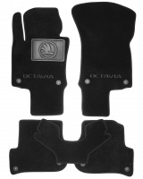 Коврики в салон для Skoda Octavia A5 '05-13 текстильные, черные (Люкс) 4 клипсы