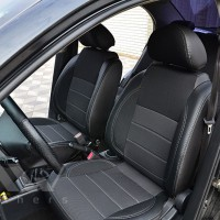 Авточехлы Premium для салона Chevrolet Aveo '04-11, седан темные, серая строчка (MW Brothers)