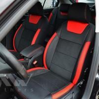 Авточехлы Leather Style для салона Daewoo Lanos '98-, красные вставки, красная строчка (MW Brothers)