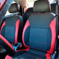 Авточехлы Premium для салона Daewoo Lanos '98-, красные вставки, красная строчка (MW Brothers)
