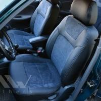 Авточехлы Leather Style для салона Daewoo Lanos '98-, серая строчка (MW Brothers)