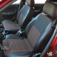 Авточехлы Premium для салона Daewoo Lanos '06-, Pick-up красная строчка (MW Brothers)