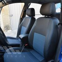 Авточехлы Premium для салона Daewoo Lanos '06-, Pick-up синяя строчка (MW Brothers)