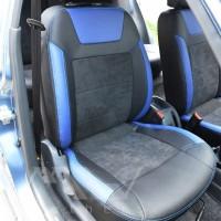 Авточехлы Leather Style для салона Daewoo Sens '98-, синие вставки (MW Brothers)