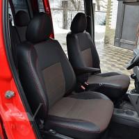 Авточехлы Premium для салона Fiat Doblo '01-09 Cargo (1+1) красная строчка (MW Brothers)