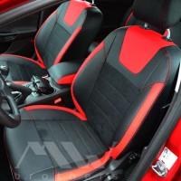 Авточехлы Leather Style для салона Ford Focus III '11-, красные вставки, красная строчка (MW Brothers)