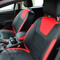 Авточехлы Leather Style для салона Ford Focus III '14-, красные вставки (MW Brothers)