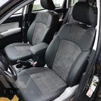 Авточехлы Leather Style для салона Kia Rio '15-, седан, корейская версия, серая строчка (MW Brothers)