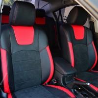 Авточехлы Leather Style для салона Mazda 3 '04-09 красные вставки (MW Brothers)