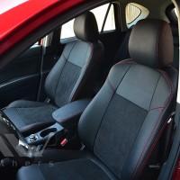 Авточехлы Leather Style для салона Mazda CX-5 '12-17 базовой комплектации красная строчка (MW Brothers)