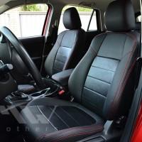 Авточехлы Leather Style для салона Mazda CX-5 '12-17 базовой комплектации натуральная кожа, красная строчка (MW Brothers)