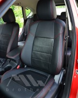 Авточехлы Leather Style для салона Mazda CX-5 '15-17, Touring и Premium красная строчка, натур. кожа (MW Brothers)