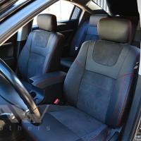Авточехлы Leather Style для салона Mitsubishi Galant '04-12 красная строчка (MW Brothers)