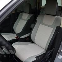 Авточехлы Leather Style для салона Mitsubishi Outlander '12-, серая строчка (MW Brothers)