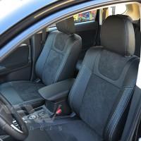 Авточехлы Leather Style для салона Mitsubishi Outlander '15-, рестайлинг серая строчка (MW Brothers)