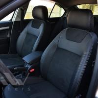Авточехлы Leather Style для салона Skoda Octavia A5 '09-13 серая строчка (MW Brothers)