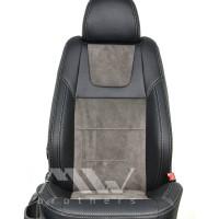 Авточехлы Leather Style для салона Skoda Octavia A7 '13-17 серая строчка (MW Brothers)