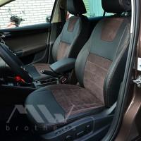 Авточехлы Leather Style для салона Skoda Octavia A7 '13-17, лифтбек алькантара, коричневая строчка (MW Brothers)