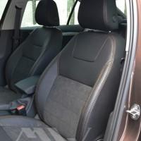 Авточехлы Leather Style для салона Skoda Octavia A7 '13-17, лифтбек коричневая строчка (MW Brothers)