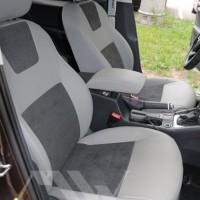 Авточехлы Leather Style для салона Skoda Octavia A7 '13-17, лифтбек серая строчка (MW Brothers)