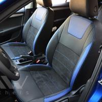 Авточехлы Leather Style для салона Skoda Octavia A7 '13-17, лифтбек синие вставки (MW Brothers)
