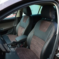 Авточехлы Leather Style для салона Skoda Octavia A7 '13-17, универсал алькантара, коричневая строчка (MW Brothers)