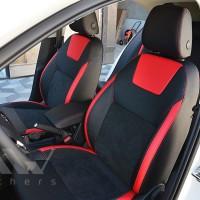 Авточехлы Leather Style для салона Skoda Octavia A7 '13-17 красная строчка (MW Brothers)