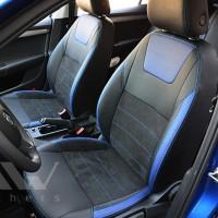 Авточехлы Leather Style для салона Skoda Octavia A7 '13-17 синие вставки (MW Brothers)