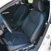 Авточехлы Leather Style для салона Volkswagen Jetta 6 '10-19 синяя строчка (MW Brothers)