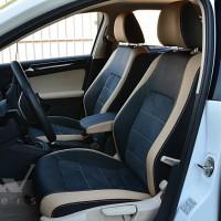 Авточехлы Leather Style для салона Volkswagen Jetta 6 '16-19 бежевые вставки (MW Brothers)