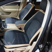 Авточехлы Leather Style для салона Volkswagen Passat B7 '10-14, седан бежевые вставки (MW Brothers)