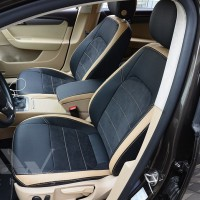 Авточехлы Leather Style для салона Volkswagen Passat B7 '10-14, универсал бежевые вставки (MW Brothers)