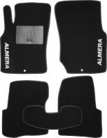 Коврики в салон для Nissan Almera Classic 06-13 текстильные, черные (Стандарт)