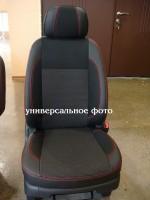 Авточехлы Premium для салона Volkswagen Polo '10-, седан, с деленой спинкой красная строчка (MW Brothers)