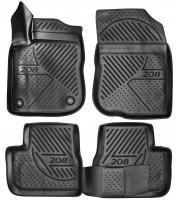 Коврики в салон для Peugeot 208 '12- полиуретановые, черные (Novline / Element)