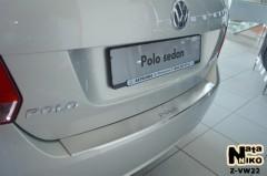 Накладка с загибом на бампер для Volkswagen Polo '10-15 седан (Premium)