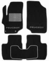 Коврики в салон для Peugeot 301 '12- текстильные, серые (Люкс) 2 клипсы