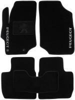 Коврики в салон для Peugeot 301 '12- текстильные, черные (Люкс) 2 клипсы
