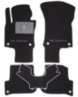 Коврики в салон для Skoda Octavia A5 '05-13 текстильные, серые (Люкс) 4 клипсы