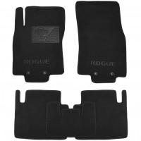 Коврики в салон для Nissan Rogue '14-20, текстильные, черные (Премиум) 4 клипсы