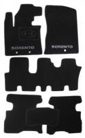Коврики в салон для Kia Sorento '13- текстильные, черные (Люкс) 1+2+3 ряд