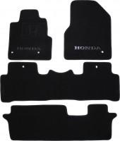Фото 1 - Коврики в салон для Honda Pilot 08- текстильные, черные (Премиум) 1+2+3 ряд