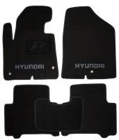 Коврики в салон для Hyundai Santa Fe '13-17 DM текстильные, черные (Премиум)